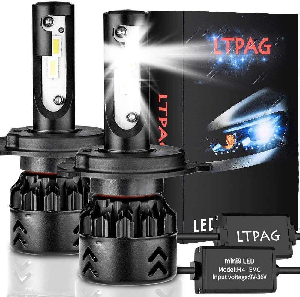 LTPAG Bombilla H4 LED Coche, 2pcs 72W 12000LM Lampara H4 LED 12V/24V Luces LED Coche H4, Faros Reemplazo de Halógena y Kit Xenón H4, Blanco 6000K, Garantía de 2 años