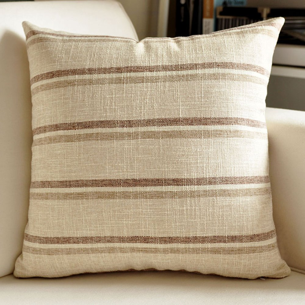 M MOCHOHOME Linen Decorative Stripe Square Throw Pillow Cover Case Pillowcase Cushion Sham - 18'' x 18'', Beige