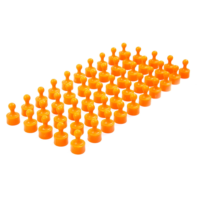 K/ühlschrank 50 vollfarbige orange Neodym Magnet-Pins//Push-Pins f/ür Whiteboard