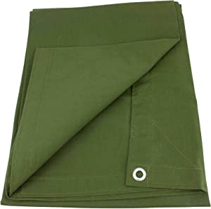 Mytee Products 8' x 10' Green Canvas Tarp 12oz Heavy Duty Water Resistant