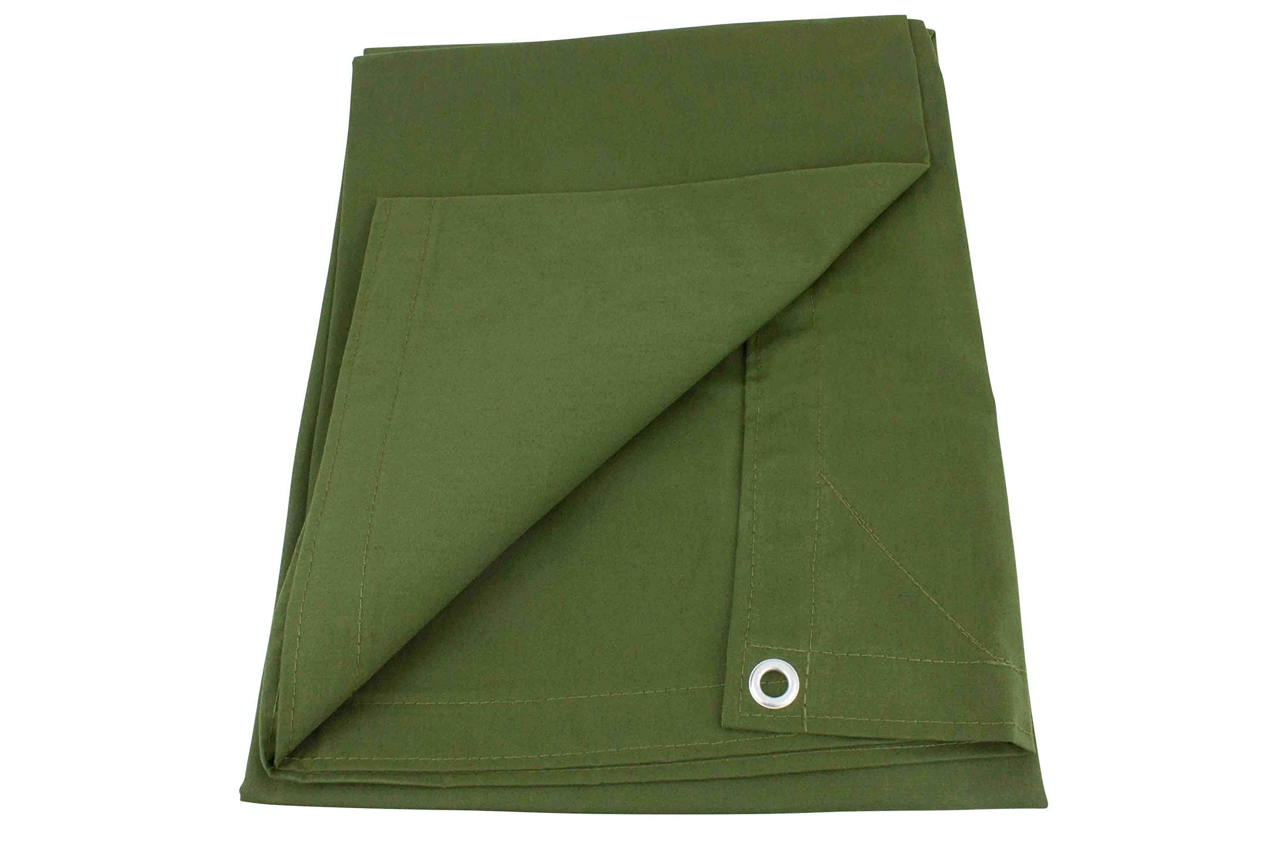 12' x 24' Green Canvas Tarp 12oz Heavy Duty Water Resistant