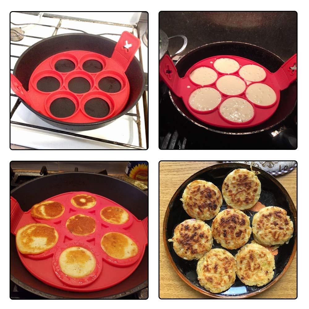 Amazon.com: Moldes Para Pancakes - Kitchen DIY Pancake Maker 7 Holes Round Pancake Mold BPA Free Silicone Egg Frying Form Kitchen Helpers Flip Cooker For ...