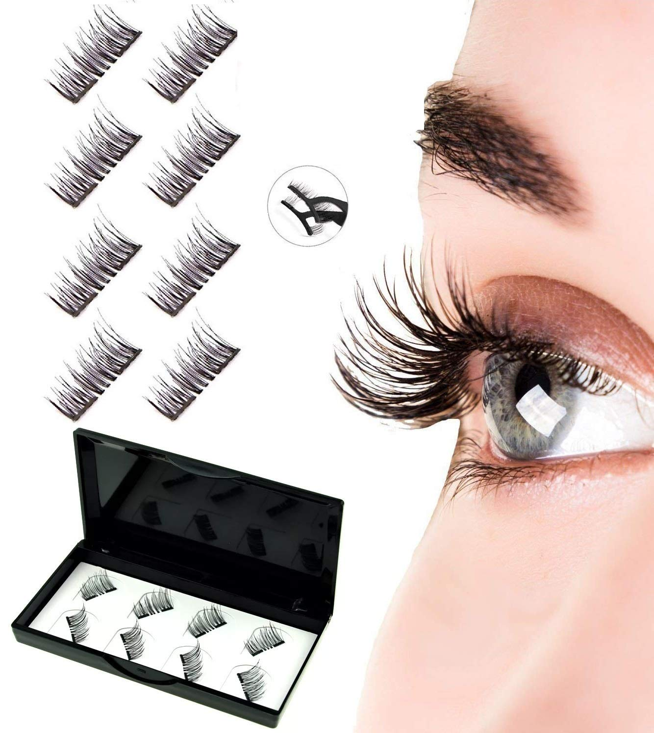 e4f5504e93 Amazon.com : Mikicat 8 PCS Upgraded Dual Magnetic Eyelashes 2 Magnets, Best  No Glue False Magnetic Lashes, Reusable Natural Look Lashes with Stainless  Steel ...