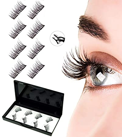 24fb0816917 Amazon.com : Mikicat 8 PCS Upgraded Dual Magnetic Eyelashes 2 Magnets, Best  No Glue False Magnetic Lashes, Reusable Natural Look Lashes with Stainless  Steel ...