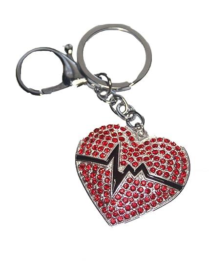 Amazon.com: Llavero con diseño de corazón de 1.2 in con ...