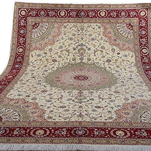 (YILONG CARPET Yilong 9'x12' Handmade Persian Wool Silk Rug Floral Kashmir Hand Knotted Oriental Carpet Home Decor (9-Feet-by-12-Feet, Cream) WS1376 )