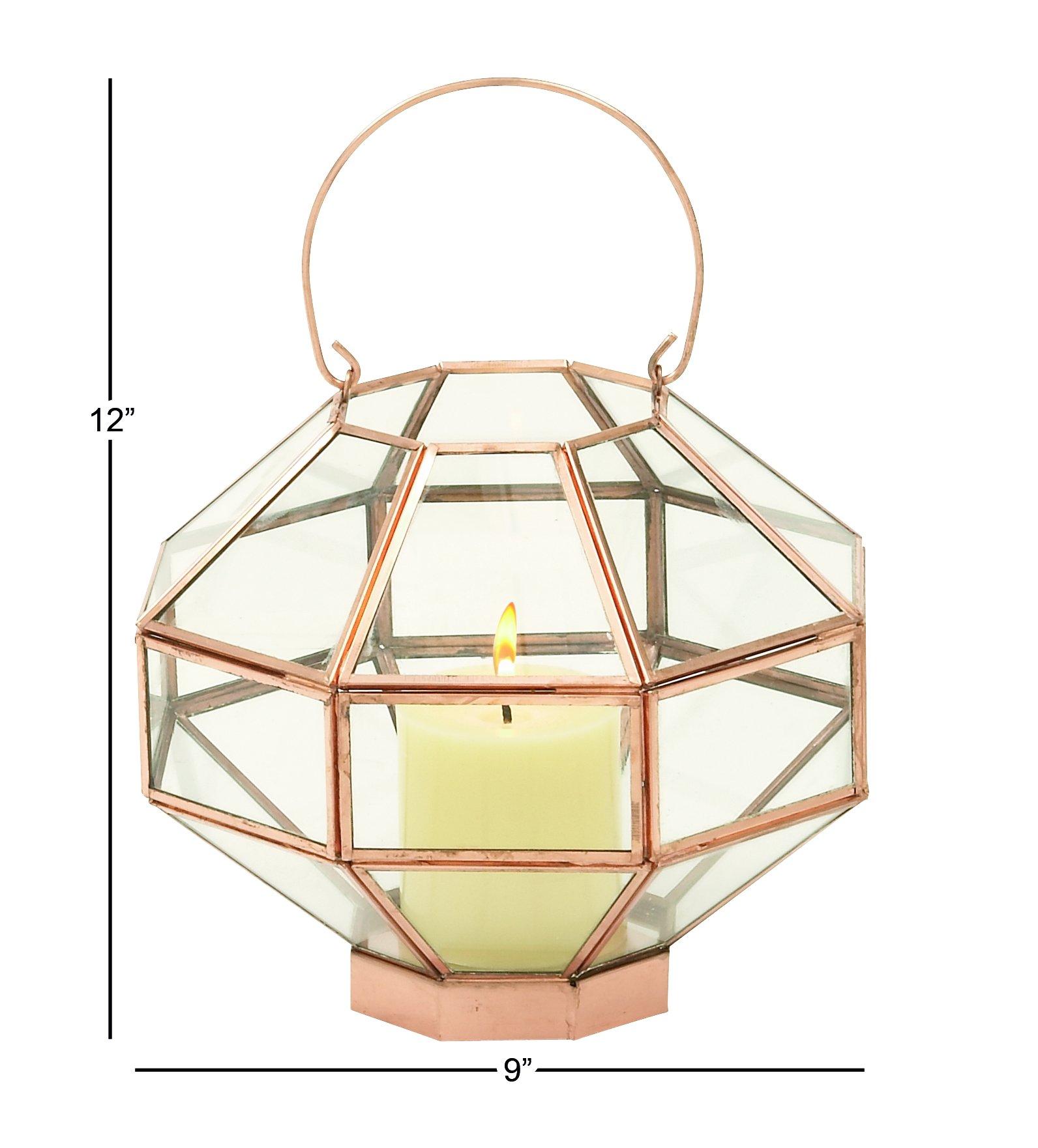 Metal Glass Mirror Cpr Lantern 9''W, 12''H - 37156 by Deco 79 (Image #3)