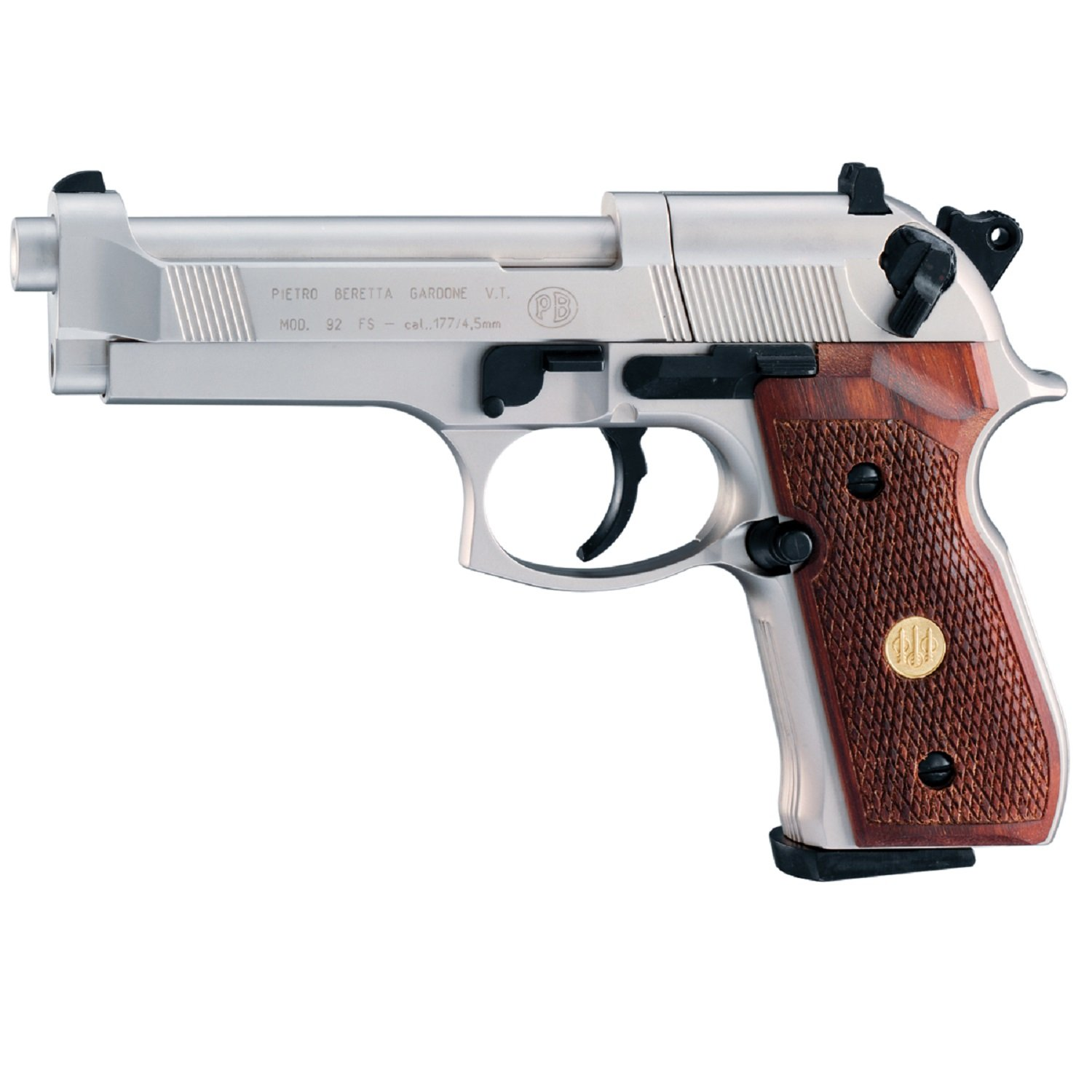 Beretta 92FS, Nickel, Wood Grips air pistol