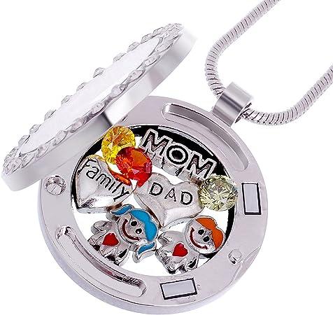 Rubyca runde Medaillon-Halskette mit Kristall-Geburtsstein f/ür lebende Erinnerungen SilberfarbenI Love to Dance Rund-Medaillon mit Kristallen