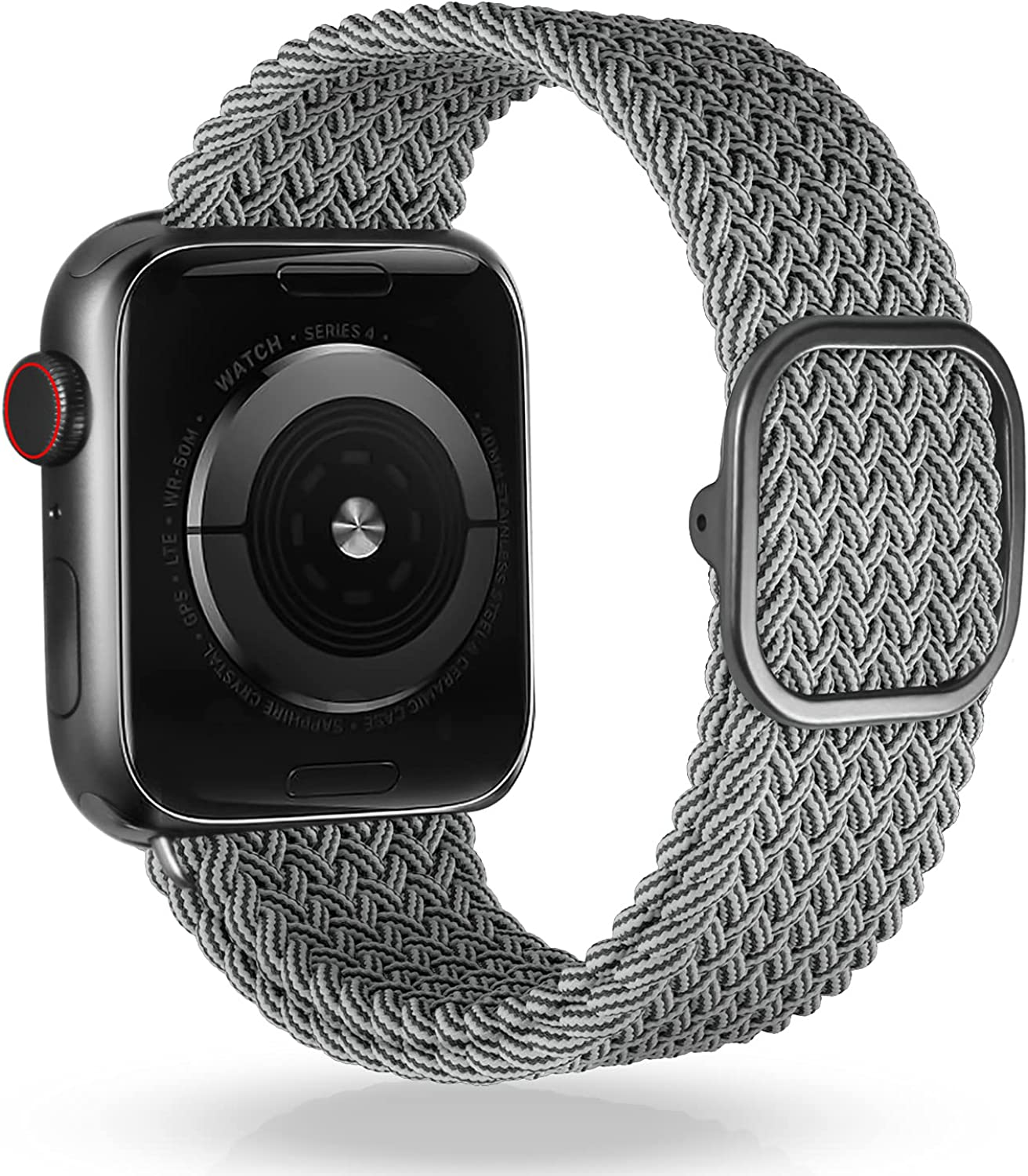 VEESIMI Braided Elastic Watch Band Compatible with Apple Watch Band 38mm 40mm 42mm 44mm, Stretchy Strap with One-hand Adjustable Buckle, Compatible for iWatch Bands Series SE 6/5/4/3/2/1 Women & men
