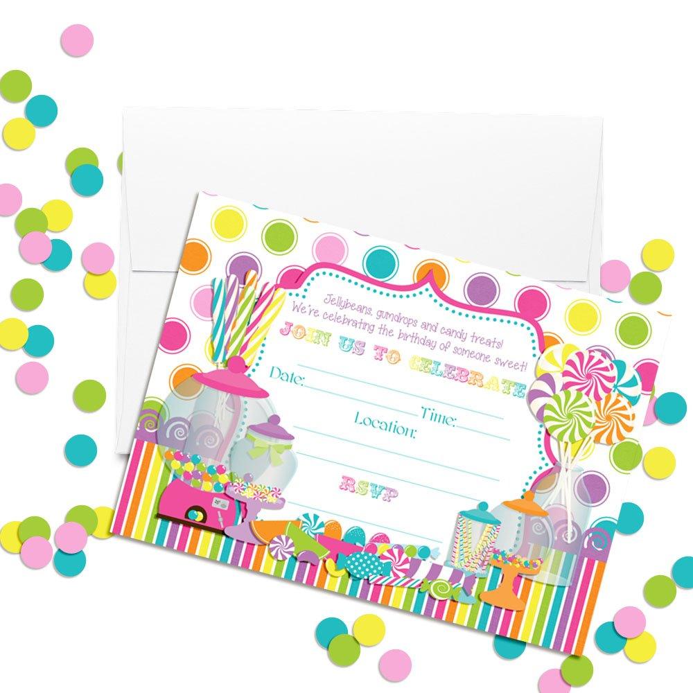 Amazon.com: Sweet Shoppe Candy Shop Birthday Party Invitations, Ten ...