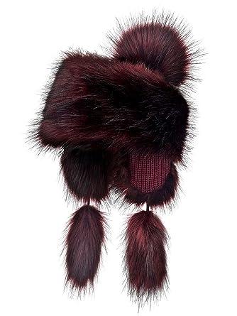 Futrzane Faux Fox Fur Winter Trapper Hat Women Russian Style Pompom (Bordo) 8c29c4b40c65