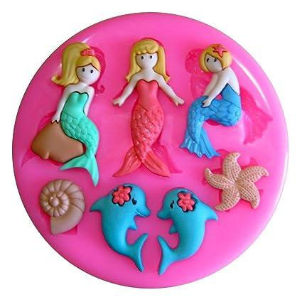 Princesa de la sirena y delfines Molde de silicona para la torta de Decoración Pastel de