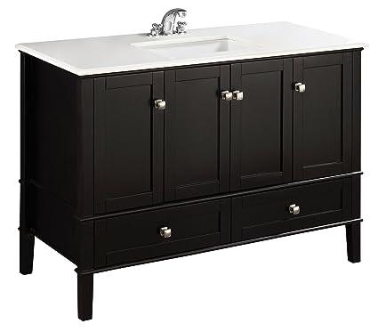 Simpli Home Chelsea 48u0026quot; Bath Vanity With White Quartz Marble Top, Black