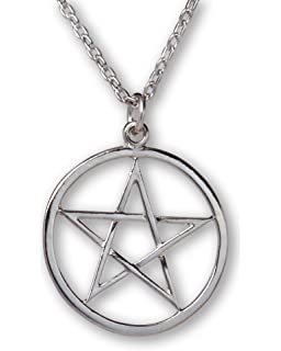 Pentagram Protective Sigil Necklace in Antique Silver Tone (Organza Gift Pouch Included). EtCP1j