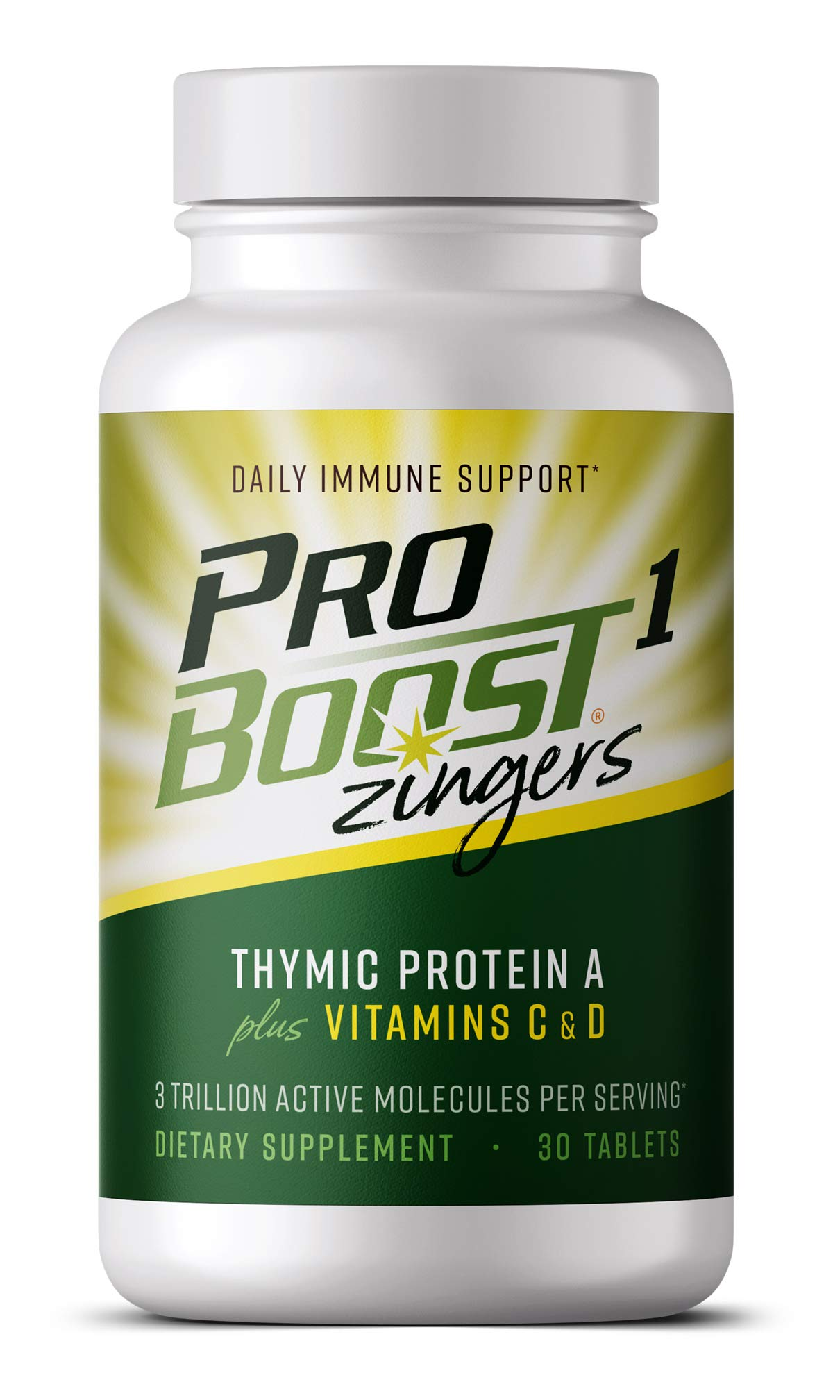 ProBoost 1 Zingers, Thymic Protein A Plus Vitamin C & Vitamin D Sublingual Tablets (30 Count) - Daily Immune Support Supplement by Genicel