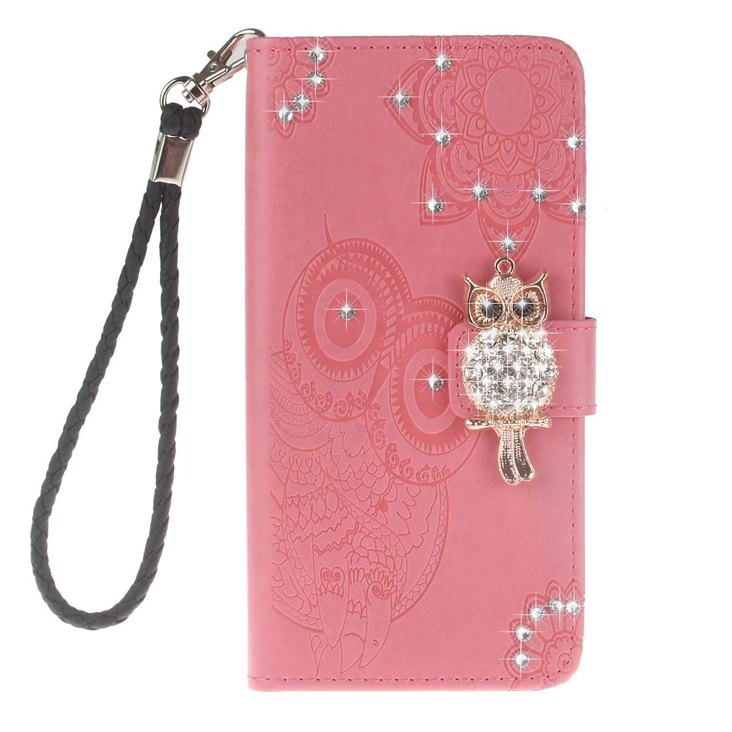 Bear Village Huawei P20 Lite Case, Leather Case with Wrist Strap and Credit Card Slot, Owl Magnetic Closure Shockproof Cover for Huawei P20 Lite, Pink by Bear Village