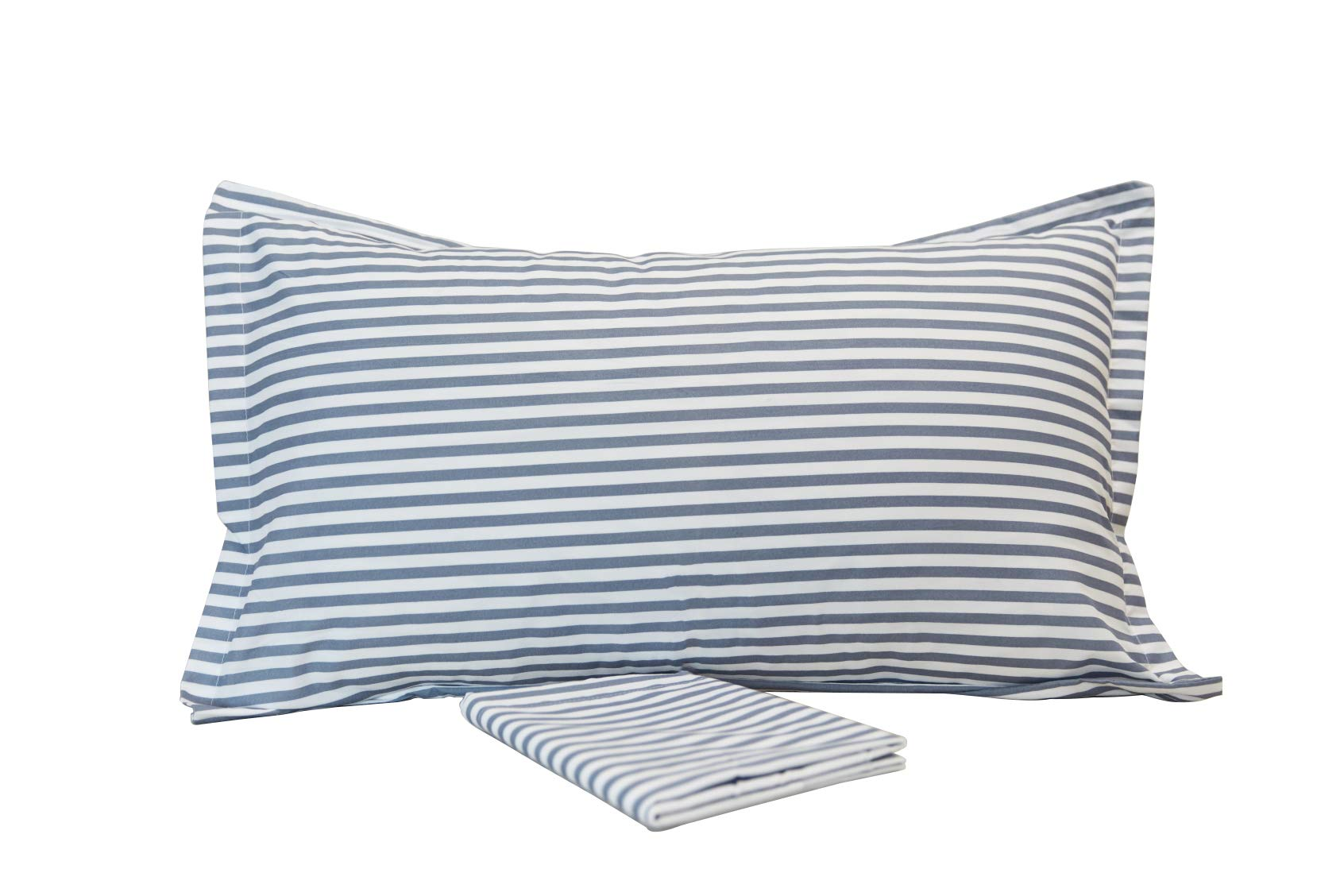 LT 100% Brushed Microfiber 2 Pack Pillowcases - King Size, White And Blue Stripes Striped Pillow Shams Covers (20x40inches) (12, King size)