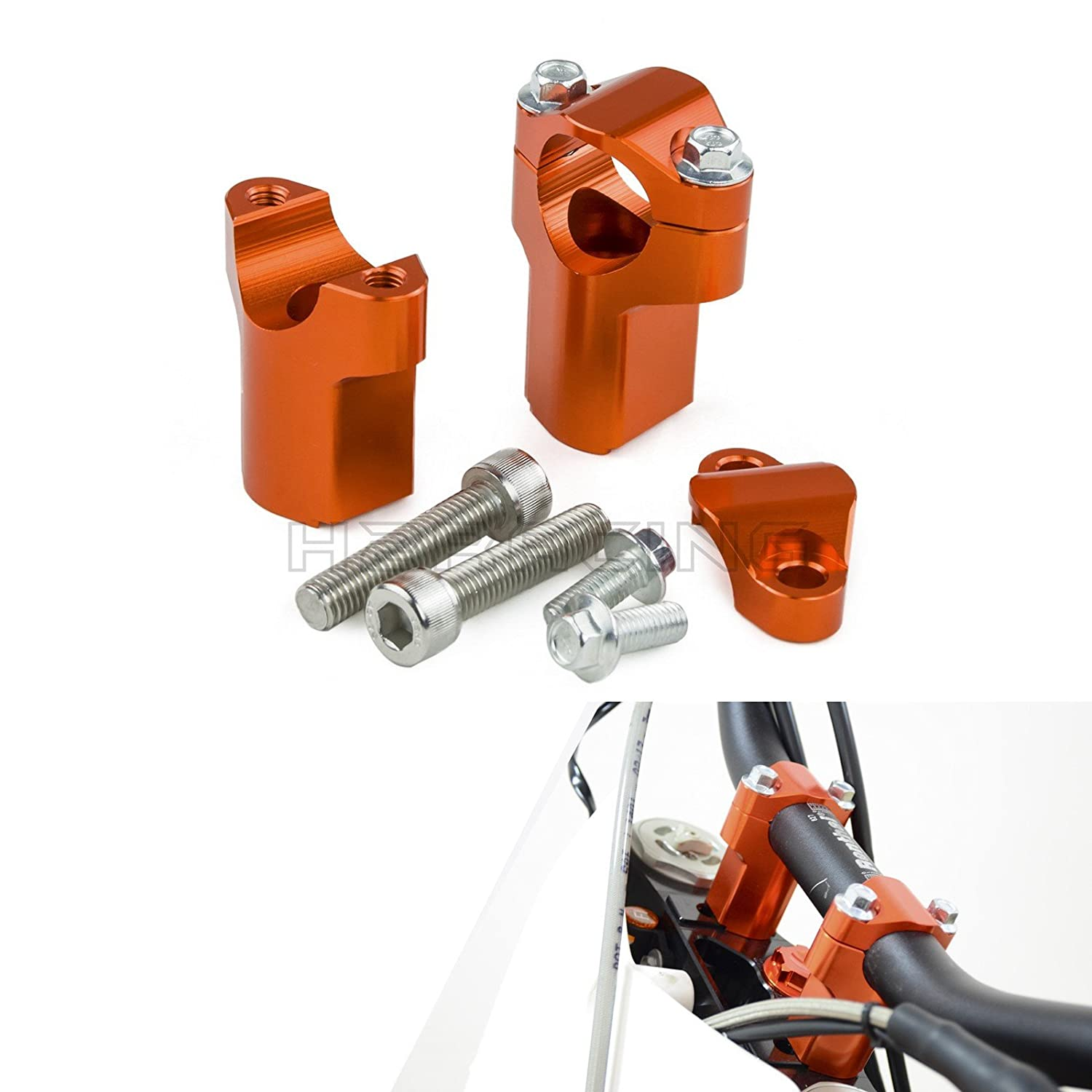H2racing 28mm Orange Handlebar Mounts Riser Clamp For 300 500 Exc Ktm 525 Fuse Box 350 F Six Days 12 16125 530cc Sx Xc 06 161190 Adventure R Abs 13 15 1050 1250