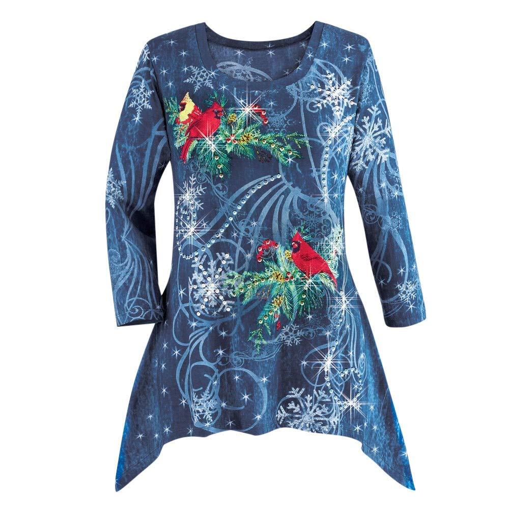 VEMOW Heißer Elegante Damen Plus Size Oberteile Winter Festliche Wasserfall Weihnachten Unregelmäßige Lässige Tägliche Party Lose Hem Bluse Top VEMOW Women