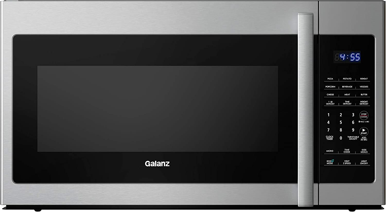 Galanz GLOMJA17S2B-10 Over-The-Range Microwave, Energy Saving/ECO Mode, 30-second Express Cooking, 9 Auto-cook Programs, 1000W/120Volts, 1.7 Cu.Ft, Stainless Steel