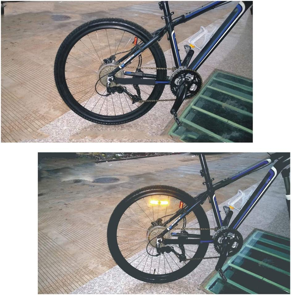 IETONE 2 Piezas Bicicleta de Advertencia Bicicleta Rueda de Monta/ña Reflector de Seguridad Reflexivo Vintage Clip L/ámpara Amarillo y Blanco