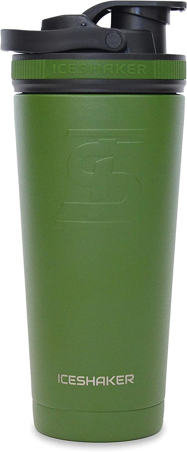 Ice Shaker Stainless Steel Insulated Water Bottle Protein Mixing Cup (As seen on Shark Tank) | Gronk Shaker | (Green 26 oz)
