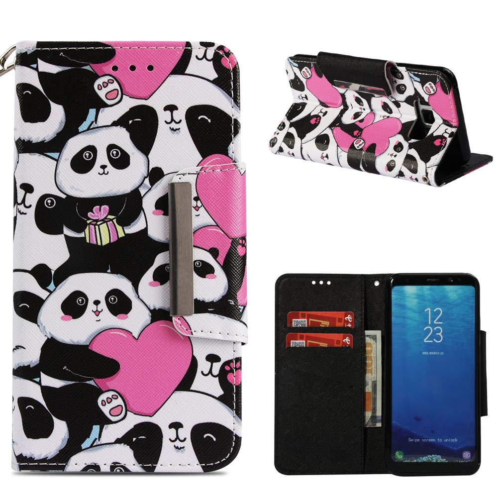 Firefish Galaxy S8 Plus Case,Fashion Magnetic Closure PU Leather 3D Printing Wallet Case Anti-Scratch Shock Absorbent Kickstand Inner Soft TPU Bumper Carrying Case for Samsung Galaxy S8 Plus -Pandas