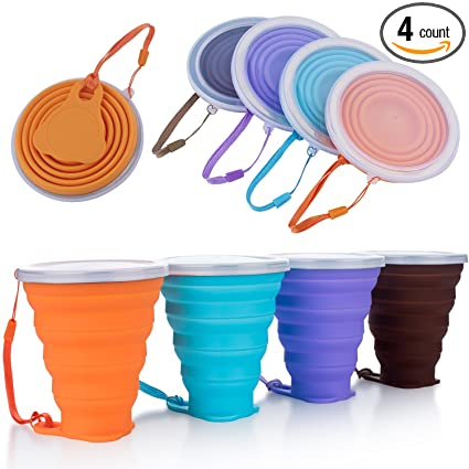 FAN Collapsible Travel Cup - Silicone Folding Camping Cup with Lids - 4 Pack a49bd0ece2