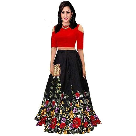 Buy Shivganga Fashion Women S Art Silk Semi Stitched Lehenga Choli Printed Crop Top Black Free Size At Amazon In