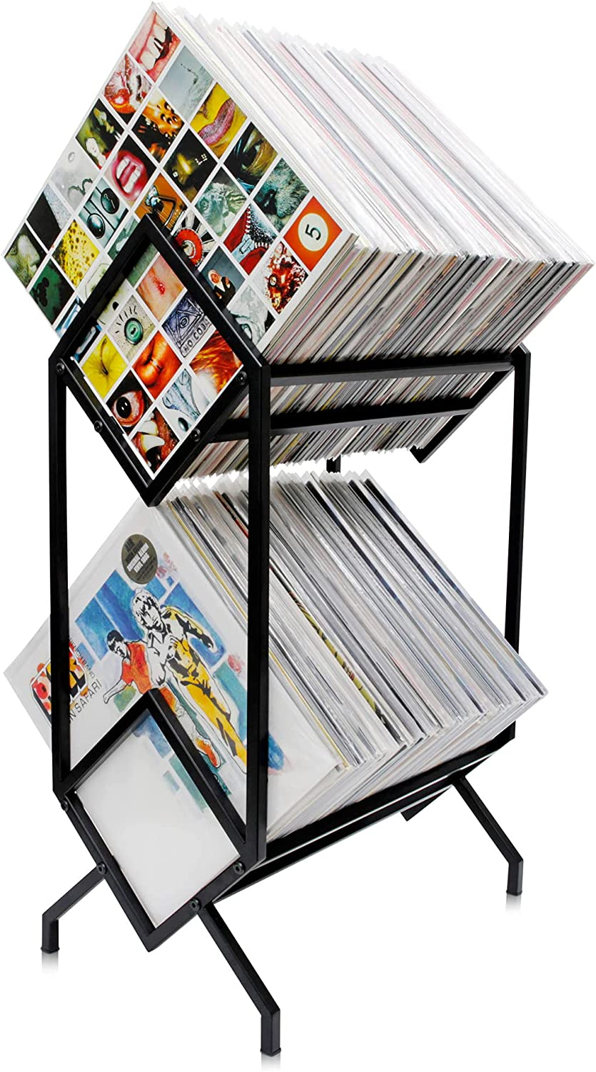 KRONNDORF Vinyl Record Storage Rack, Black - Holds 200 Vinyls, Modern 2 Tier Small Book Shelf Organizer for Small Spaces, Sturdy Records Holder for LP Albums, Narrow Metal Freestanding Display Stand