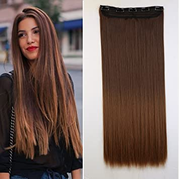 Amazon Com Long Ombre Clip In Hair Extensions Hairpiece 2 Tone