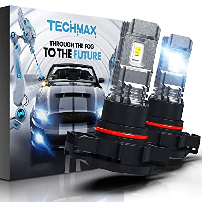TECHMAX 5202 LED Fog Light Bulbs,H16 European Type DRL 6000K Xenon White 2800LM 60W 320°Beam Angle Pack of 2: Automotive