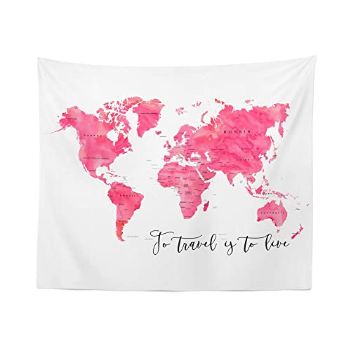 Pink World Map Tapestry Wall Hanging Maps Global Watercolor Tapestries Dorm Room Bedroom Decor Art – Printed in the USA – Small to Giant Sizes