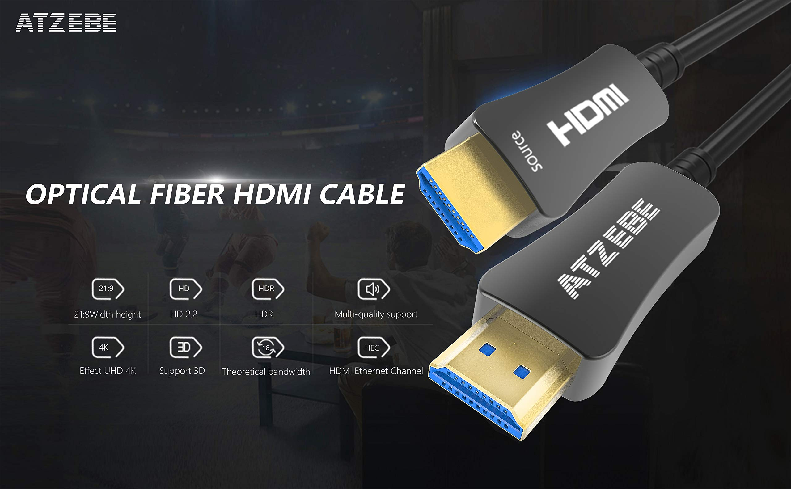 ATZEBE Fiber Optic HDMI Cable 60ft, 4K Optical HDMI Cable Supports 4K@60Hz, 4:4:4/4:2:2/4:2:0, HDR, Dolby Vision, HDCP2.2, ARC, 3D, High Speed 18Gbps, Slim and Flexible Active HDMI Cable