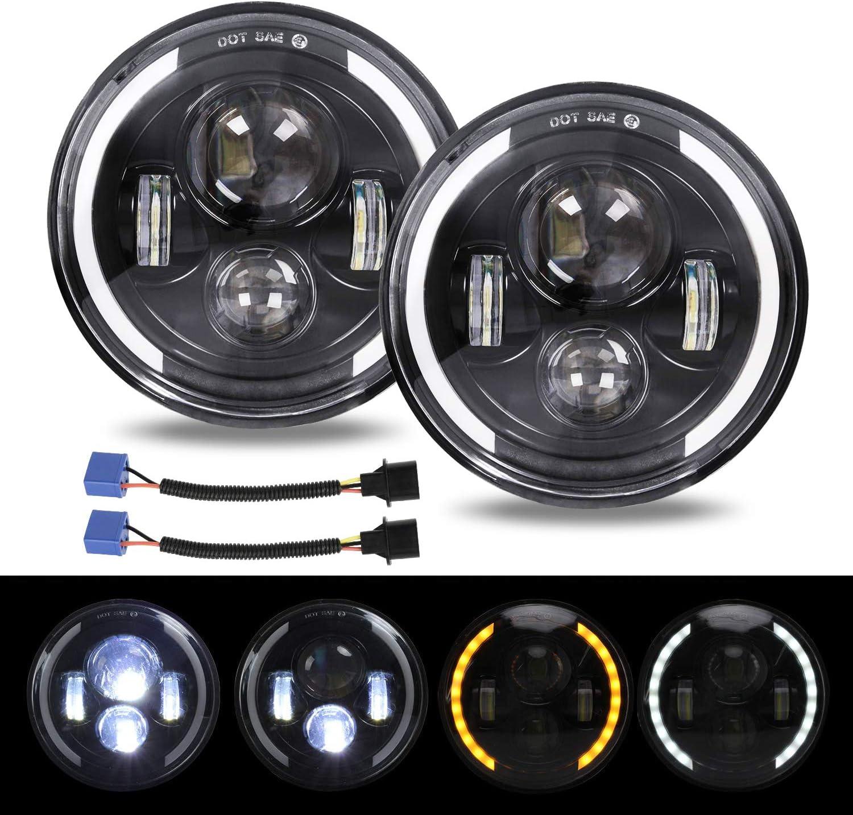 Jeep Wrangler Headlight 2PCS for Jeep Wrangler JK LJ CJ Hummer H4 H13 YUGUANG 7 150W Round 4300K+6500K LED Halo Headlight With Angel Eye High Beam//DRL//Low Beam