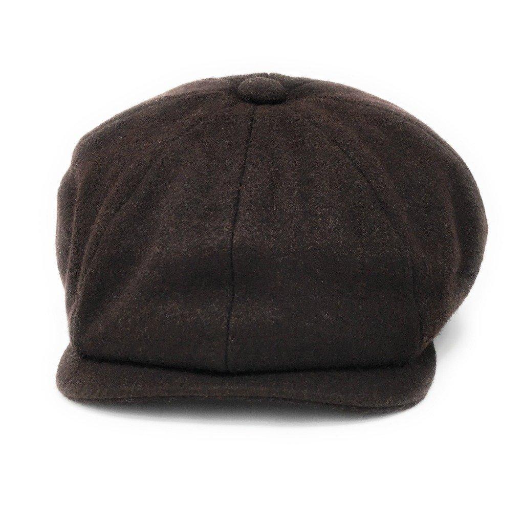 Gatsby Baker Boy Cap Grey or Navy 8-Piece Cap. Black Melton Wool Lined