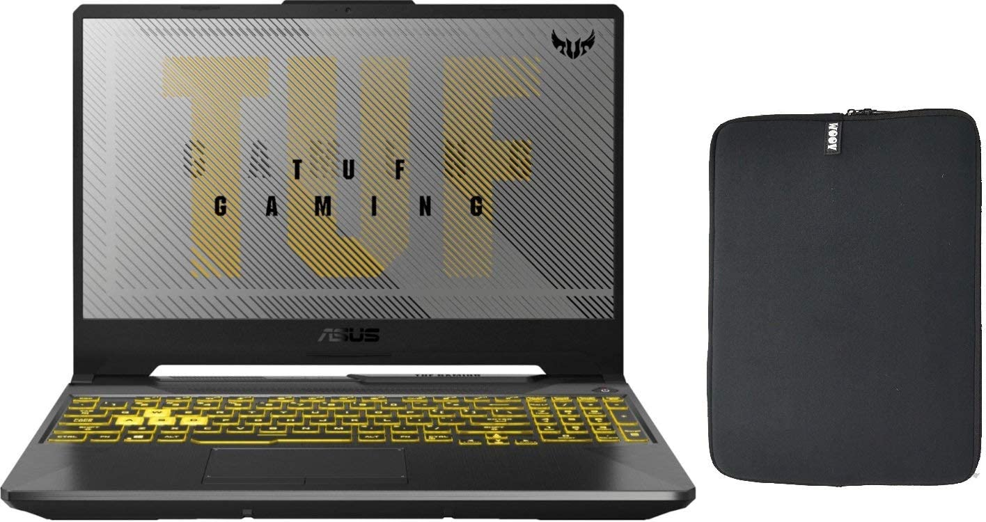 Asus TUF 15.6 FA506IV VR Gaming Laptop with Woov Sleeve, AMD 4th Gen Ryzen 7 4800H, 32GB RAM, 1TB PCIe SSD Boot + 2TB HDD, NVIDIA GeForce RTX 2060 6GB, RGB Backlit Keyboard, WiFi, Windows 10 Home