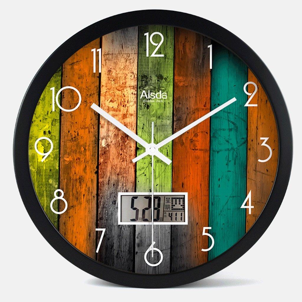 パーペチュアルカレンダーウォールクロックリビングルームサイレントクォーツ時計電子時計クリエイティブファッションウォールチャート14インチ (色 : B) B07DZZ6CW2 B B