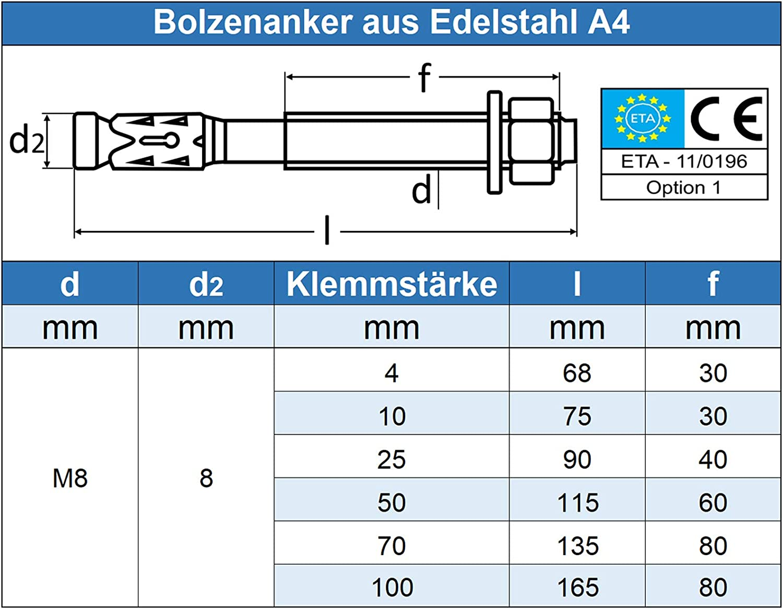 rostfrei M8 x 165//100 mm Bolzenanker Schwerlastd/übel 20 St/ück Edelstahl A4 V4A Eisenwaren2000 - ETA-Zulassung