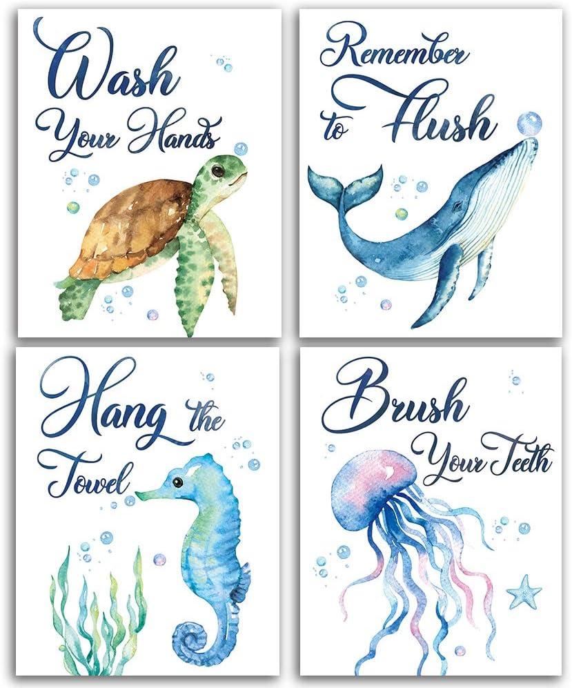 "Sea marine life Bathroom Watercolor Art Print Set of 4 (8""X10""), Sea Turtle Seahorse fish whale Jellyfish Wall Poster, Blue Ocean Theme Baby Nursery Kids Bathroom Wall Decor, No Frame"