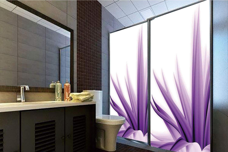 Horrisophie dodo 接着剤不要 静電気でくっつくガラスステッカー 花の装飾 蘭 アジアの自然の花 春の落ち着いたアートに反射 ブルーとパープル 高さ35.43インチ×幅23.62インチ 自宅&オフィス用 70.86