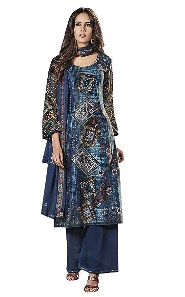 e207d4e139 Meena Bazaar Womens Maya Blue Chanderi Cotton Dress material in Digital  Print: Amazon.in: Clothing & Accessories