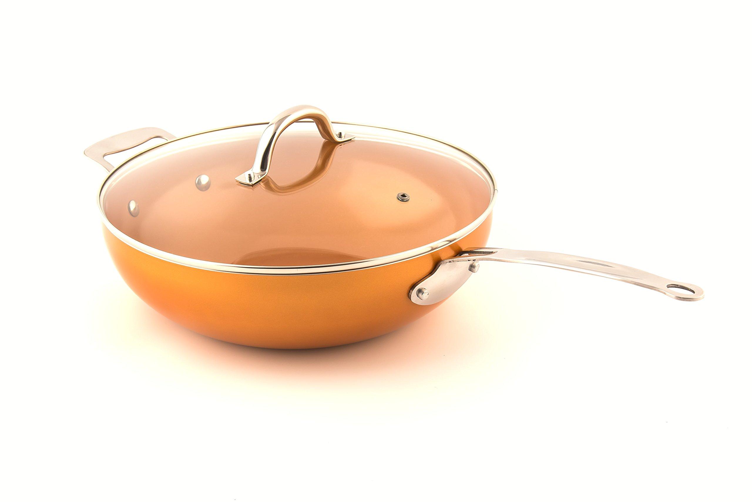 Original Copper Pan 12'' Non-Stick Wok with Lid