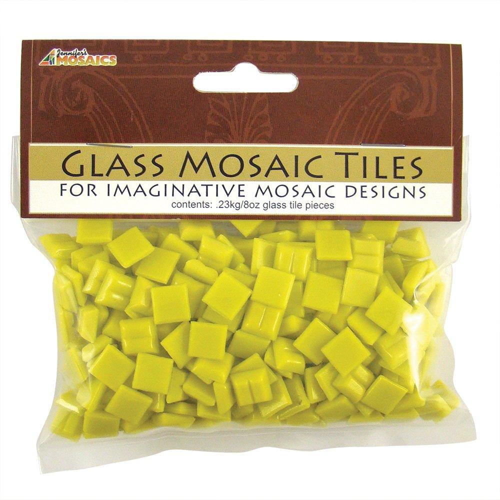 Jennifer's Mosaics 3/8-Inch Venetian Style Glass Mosaic Tile, Yellow, 8-Ounce