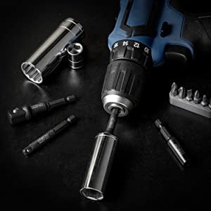 Neiko 00244A Impact Socket Adapter and Magnetic Bit Holder, 4-Piece Set   1/4-Inch Hex Shank with 1/4, 3/8, 1/2-Inch Drive   CR-V (Tamaño: 3 Inch w/ Bit Holder)