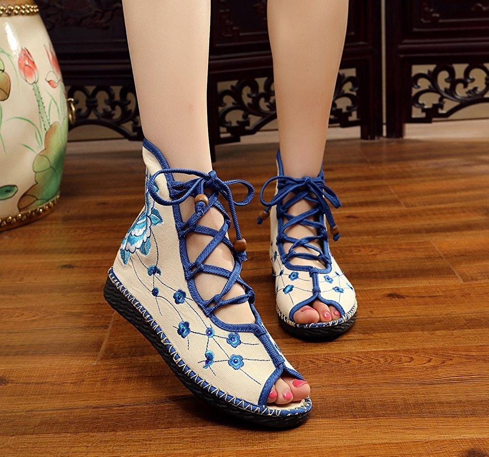 Kool Classic Women's Embroidery Open Toe Lace-up Gladiator Roman Flats Sandal B06XVQQTBD 37 M EU=7 B(M) US Flower2 Blue