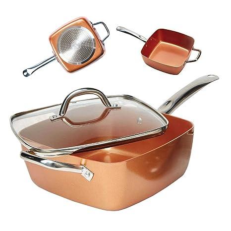 Bonplus Sartén Copper Pan Cuadrada Multiusos tapadera de Cristal y cestillo de Freír/Antiadherente/