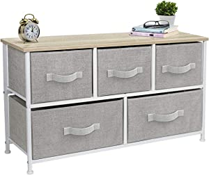 Sorbus Dresser with 5 Drawers - Furniture Storage Chest Tower Unit for Bedroom, Hallway, Closet, Office Organization - Steel Frame, Wood Top, Easy Pull Fabric Bins (Beige)