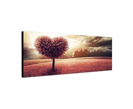 Quadro su tela come panorama in cm prato albero cuore